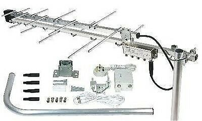 4 Way Aerial Kit With Booster Amplifier Compact Arial Ariel