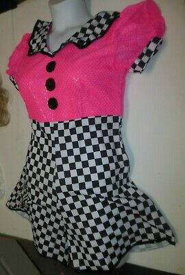 NWT 40'S STYLE Faux Sequin tap Dance Costume Checkered