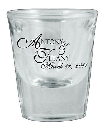 24 Personalized Glass Wedding Favor Shot Glasses NEW!