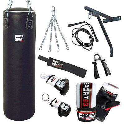 Sporteq New 4ft,5ft 100% Genuine Leather Heavy Filled Training Punchbag Kit
