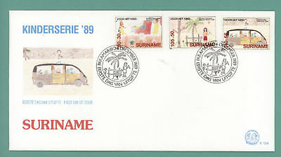 Surinam 1989 Child Welfare set on First Day Cover