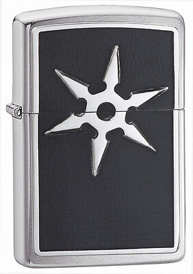Zippo Lighter 6 Point Throwing Star Chrome 20334 Personalised Free