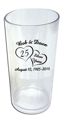 50 Personalized 25th Wedding Anniversary Favor Tumblers
