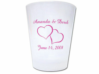 175 PERSONALIZED Heart Theme Wedding FAVOR Plastic Shot Glasses
