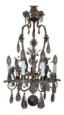 c1880 MAISON BAGUES ROCK CRYSTAL + AMETHYST CHANDELIER-ESTATE YVES st LAURENT