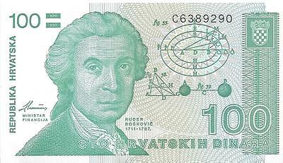 A Crisp Unc. 100 Dinara Note from Croatia Dating 1991
