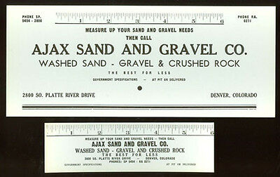 Authentic & Old * 2 Matching Denver Blotters Ajax Sand & Gravel Co Ad503