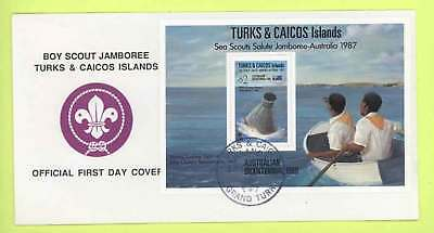 Turks & Caicos 1987 Scouts Jamboree m/s First Day Cover