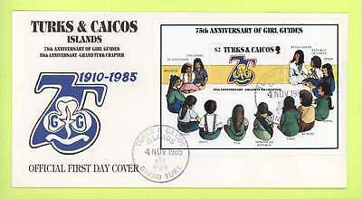 Turks & Caicos 1987 Girl Guides m/s on  First Day Cover