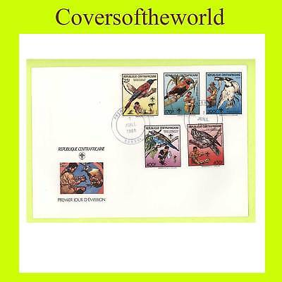 Central African Rep. 1988 Scouts/Birds set on FDC