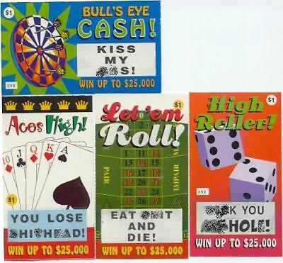 4 ASSORTED RUDE CURSE OUT FAKE LOTTO LOTTERY TICKET SET - Gag Prank Adult Joke