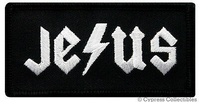 JESUS EMBROIDERED IRON-ON PATCH RELIGIOUS God Christian LIGHTNING BOLT DESIGN