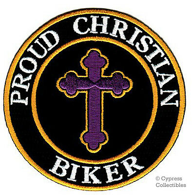 PROUD CHRISTIAN BIKER embroidered PATCH JESUS RELIGIOUS iron-on MOTORCYCLE VEST