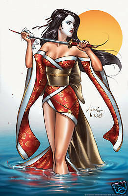 """BEAUTIFUL SHI /""""20th ANNIVERSARY FLOWERING KIMONO/"""" signed// #/'d Litho Billy Tucci"""