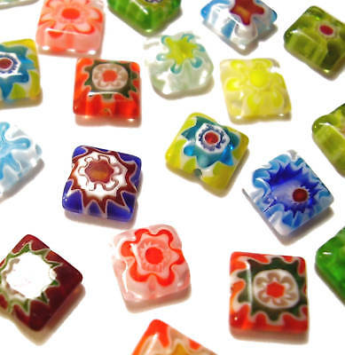 20 8mm Millefiori Square Flat Flower Glass Beads Mixed Pack