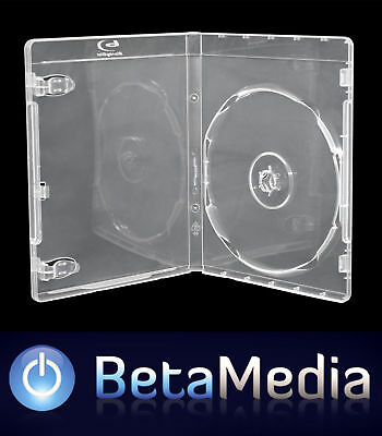 50 x Clear Blu Ray Single 12mm Quality Cases with logo - U.S Standard Size