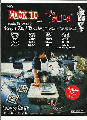 MACK 10 Money's Just a TRADE AD POSTER for Recipe CD