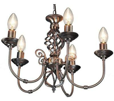 5 Arm Chandelier Traditional Barley Twist Ceiling Light Pendant Antique Brass