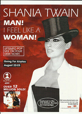 SHANIA TWAIN Man I feel TRADE AD POSTER of  Come on CD