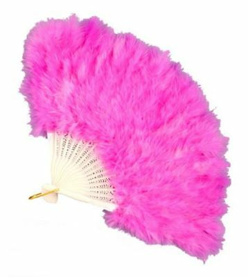 Roaring 20s Flapper Pink Feather Fan Costume Accessory Geshia Fancy Folding Hand