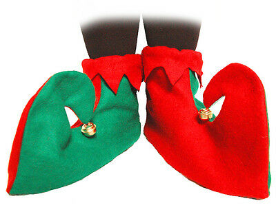 Green And Red Jester Elf Boots Shoes With Bells Christmas Fancy Dress Costume BN