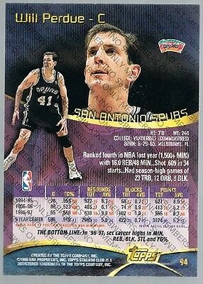 1997/98 Topps Stadium Club Members Only Will Perdue #94 Spurs