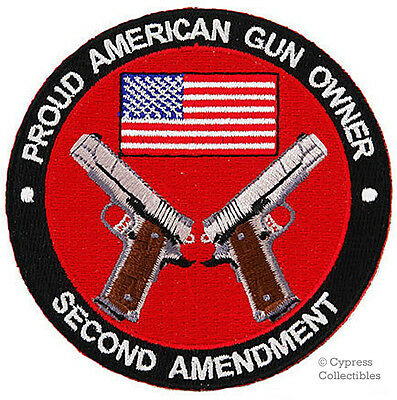 PROUD AMERICAN GUN OWNER EMBROIDERED PATCH 1911 IRON-ON PISTOL 2nd AMENDMENT USA