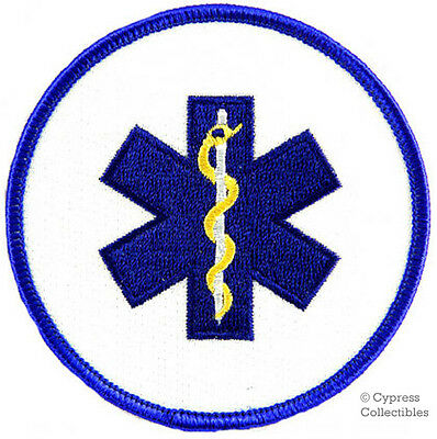 PARAMEDIC ROUND PATCH Star of Life Ambulance EMT/EMS EMBROIDERED IRON-ON BLUE