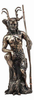 """Celtic Pagan God Herne The Hunter Statue 11""""Tall In Bronze Patina The Horned God"""