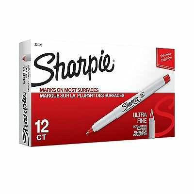 Sharpie Ultra Fine Point Red Permanent Marker  12 Each #37002
