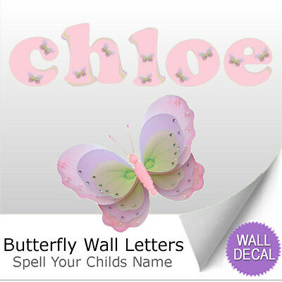 Name Wall Letters Alphabet Stickers Decals Girls Decor Pink Purple Butterfly