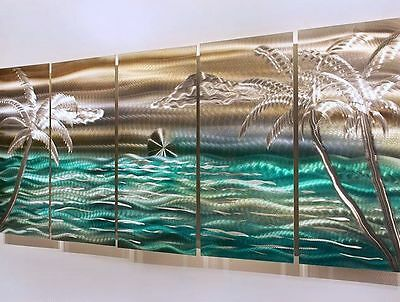 Statements2000 Tropical Metal Wall Art Gold Green by Jon Allen Castaway Summer