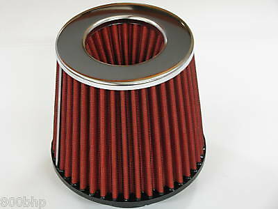 """Performance High Flow Cone Air Filter (70mm) 2.75"""" Inch Neck Diameter RED/CHROME"""