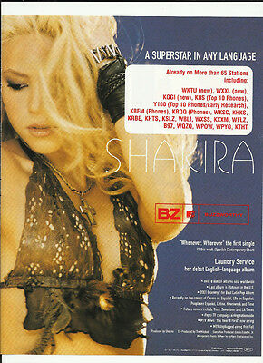 SHAKIRA Whenever Wherever RARE Trade AD POSTER for 2001 Laundry Service CD MINT
