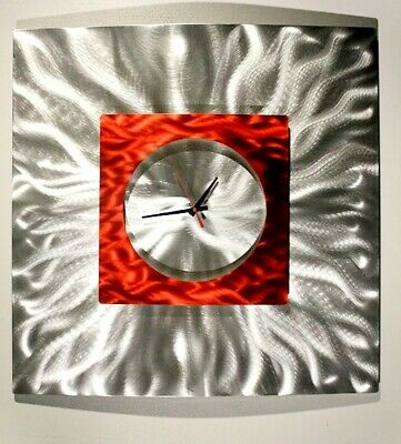 Statements2000 Metal Wall Clock Art Modern Silver Red Accent Decor by Jon Allen