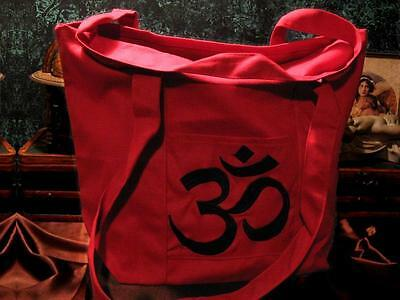 Red Canvas Tote Bag with Black Om Symbol, CTH57
