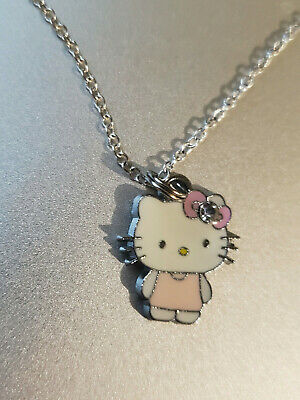 Hello Kitty Full Body With Pink Bow 3/4 Inch Metal Pendant 16 Inch Chain New
