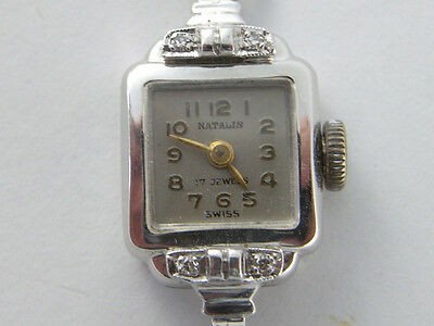Vintage Ladies 18K 18ct White Gold & Diamond Wrist Watch