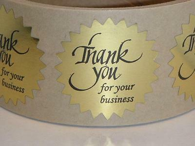 """Thank You For Your Business Sticker Label 1 1/2"""" Starburst Bright Gold 250/rl"""