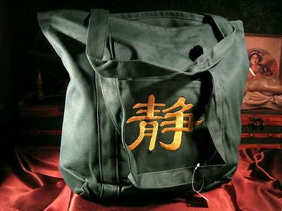 Green Canvas Tote Bag w/ Yellow Chinese Peace Symbol, CTH58