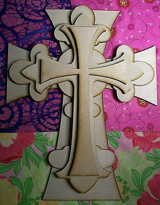 UNFINISHED WOOD LAYERED Fleur Di Lis CROSS KIT style #FDLOct02  - 15''
