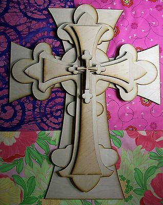 UNFINISHED WOOD LAYERED Fleur Di Lis CROSS KIT style #FDLOct03  - 15''