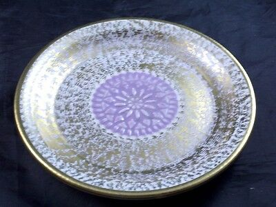 """Stangl Pottery Florentine w Gold & LILAC Flower Center #4070 Coaster 5"""" Ashtray"""