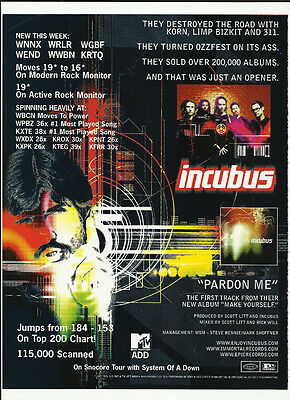 INCUBUS Pardon Me Trade AD POSTER for 1999 Make Yourself CD 1999 MINT condition