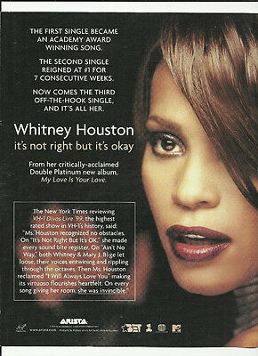 WHITNEY HOUSTON & JULIA DARLING It's right & Bulletproof Trade AD POSTER 1999 CD