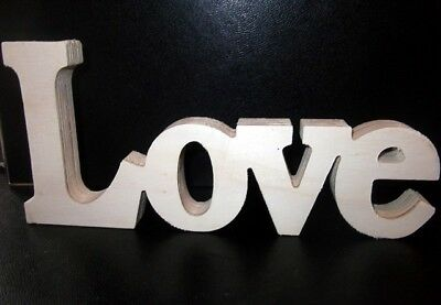 Plain wooden LOVE word sign FREE POSTAGE home decoration or wedding (CC05)