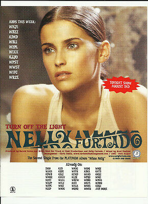 NELLY FURTADO Turn off the Light Trade AD POSTER for Whoa Nelly CD MINT 2001