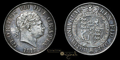 George Iii 1817 Early Milled Silver Halfcrown Coin 023370