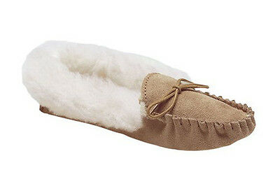FAUX Fur Lined SUEDE SOLE Moccasins Womens Dark Beige Comfy Slippers UK3-9
