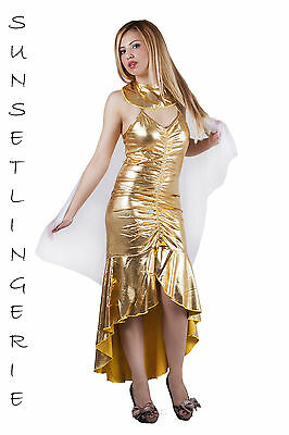 Golden cleopatra egyptian goddess fancy dress costume cleo outfit 8-10 S